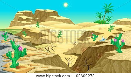 View on the desert. Vector cartoon illustration