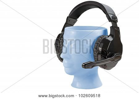 Porcelain Head Headphones Stand Isolated