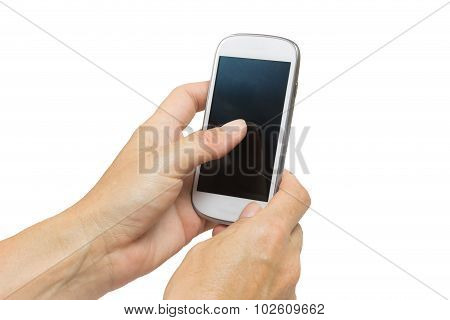 Female Hand Is Touching Touchscreen Of A Smart Phone