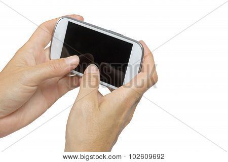 Female Hand Is Holding Smart Phone Horizontal