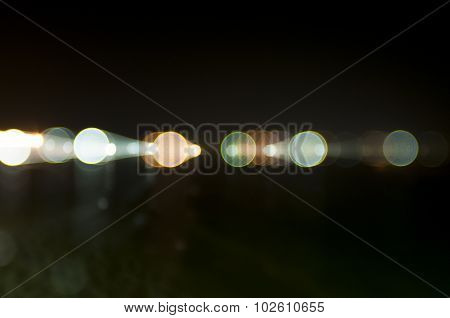 Abstract Photo, Street Lights At Night On The Sea