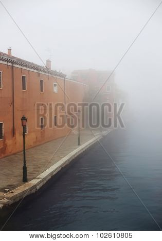 Fog In Venice Street Near Arsenal