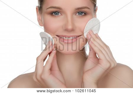 Happy European Woman With Cotton Pad