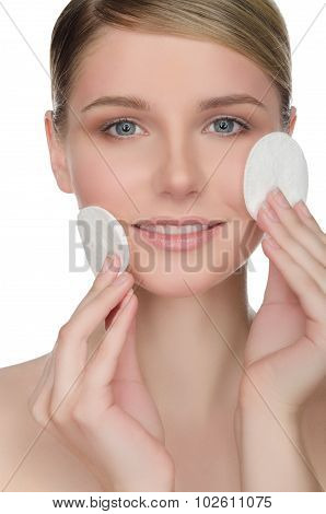 Young Woman With Cotton Pad