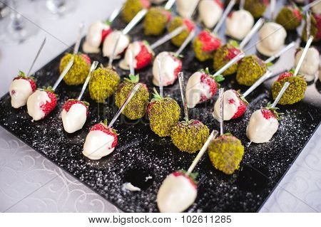 Mixed Fingerfood Canapes On Appetizer Table