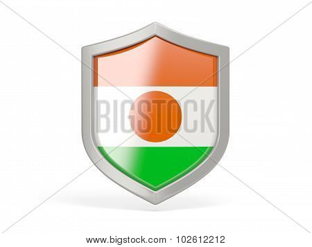Shield Icon With Flag Of Niger