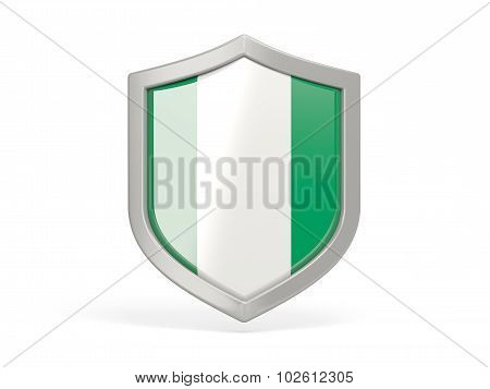 Shield Icon With Flag Of Nigeria