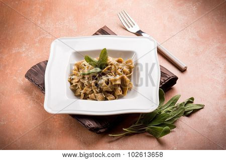 tagliatelle with butter sage and parmesan cheese