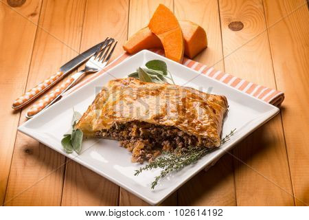 strudel stuffed with chopped meat pumpkin and herbs Stock Photo ...