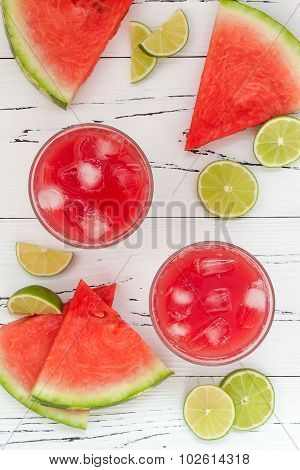 Watermelon margaritas - mexican style summer watermelon alcohol cocktail with lime. Cinco de Mayo dr