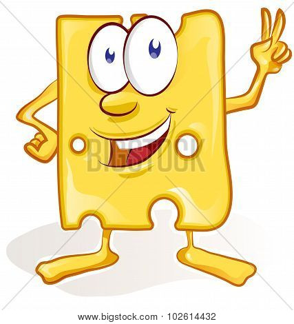 Fun Cheese Cartoon On White Background