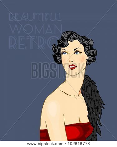 Beautiful woman in the Art Deco style. illustration