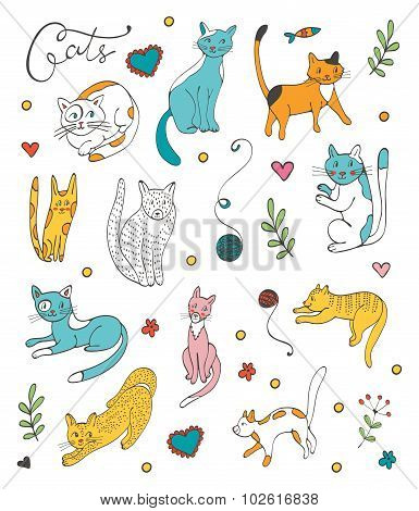 Cute hand drawn cat colorful set