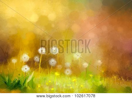 Oil Painting Nature Grass - Dandelions Flowers