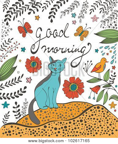 Good morning concept card with cute cat