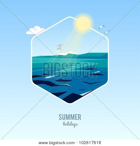 Vector summer holiday background with stylish typography. Surfer riding the waves. Beautiful summer