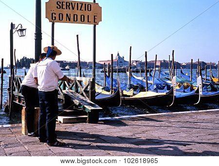 Gondolas and Gondoliers, Venice.