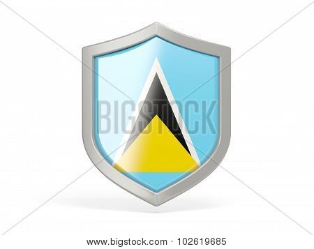 Shield Icon With Flag Of Saint Lucia