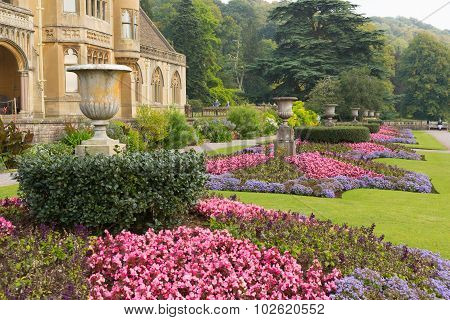 Beautiful flower gardens Tyntesfield House near Wraxall Somerset England UK Victorian stately home