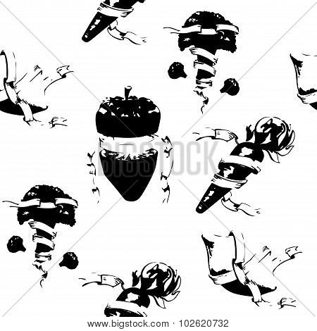 Fruits With Heraldic Ribbon With Black Shadows