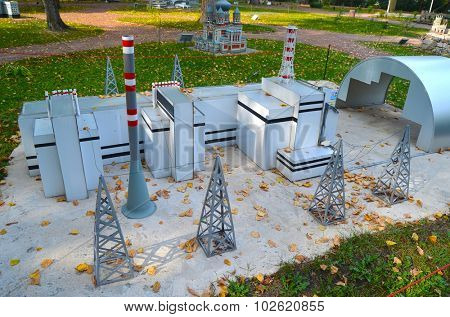 KIEV, UKRAINE - September 23, 2015: Entertaiment Park Ukraine in Miniature (Small scale Ukraine).Chernobyl Nuclear Power Plant