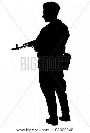 Soldier in uniform with gun on white background