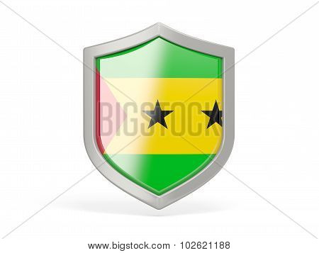 Shield Icon With Flag Of Sao Tome And Principe