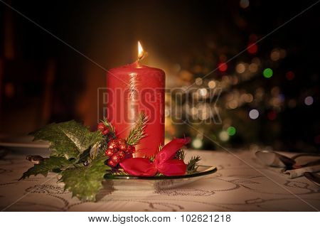 Golden Christmas Setting - Red Candle And Christmas Tree