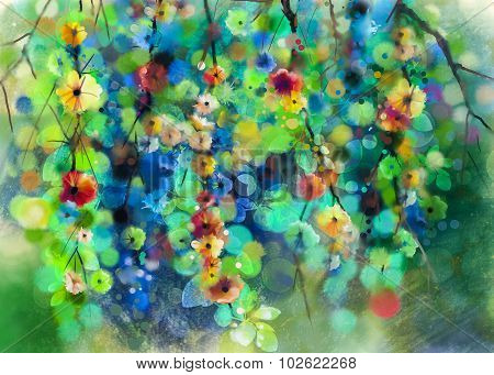 Abstract Flowers and soft green leaves.Watercolor Painting