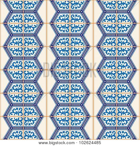 Gorgeous seamless  pattern from dark blue and white Moroccan, Portuguese  tiles, Azulejo, ornaments.