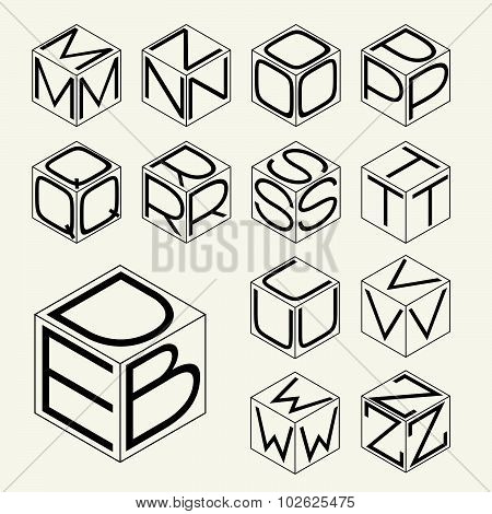 Set 2 template of the letters inscribed in the three sides of the cube, hexagon.  To create monogram