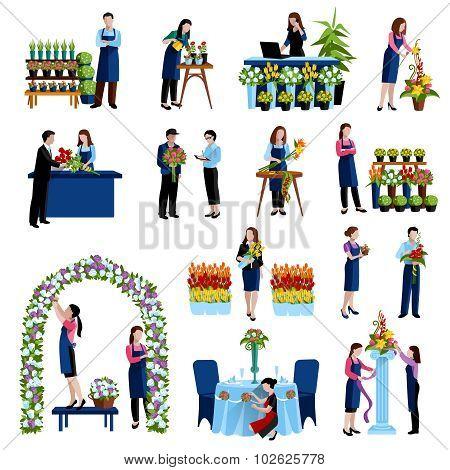 Florists arranging flowers flat icons set