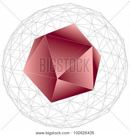 3d wireframe abstract net sphere