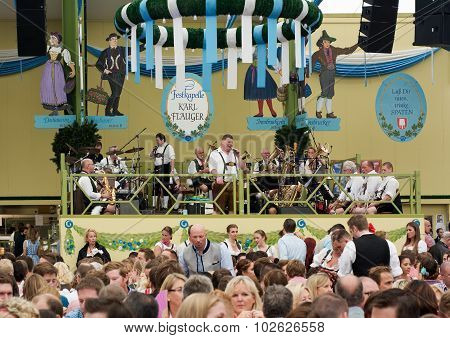 Traditional Music And Beer In The Spatenbrau Tent