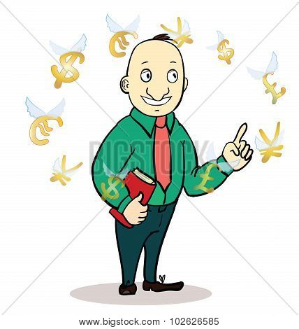 business man standing, watching for flying currency icons. Banking, exchange rate concept, economy.