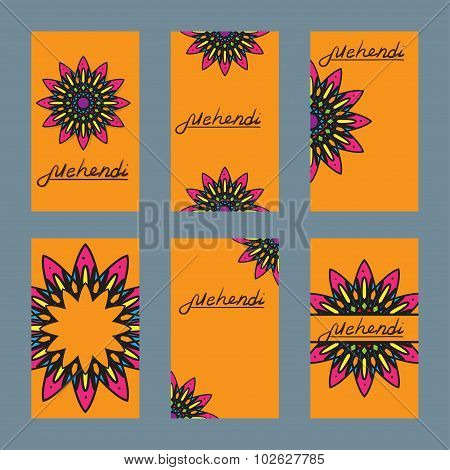 Six design of flayer for mehendi and card with ornament
