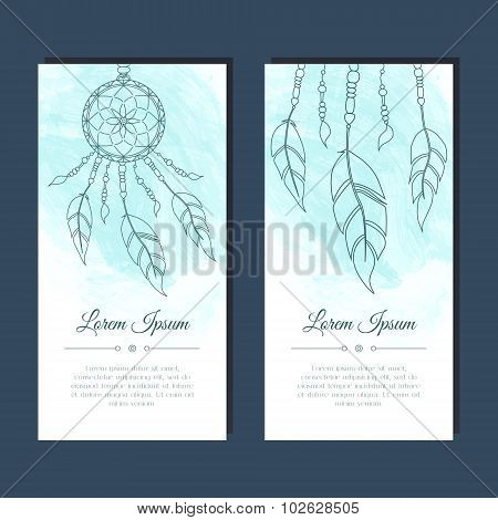 Cards with dreamcatcher and feathers.