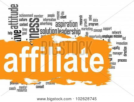 Affiliate Word Cloud With Orange Banner