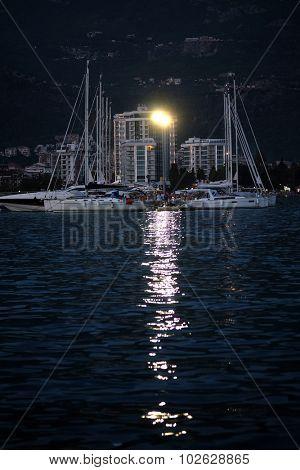 Boat in the Adriatic sea in Bar , Montenegro