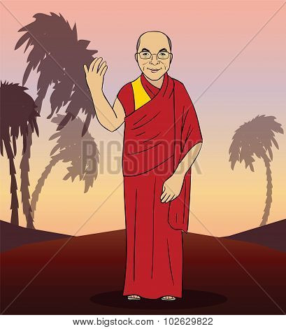 Cartoon figure of buddhist monk. Vector