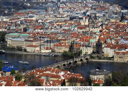 Aerial View To The Historical Center Of Prague, Czech Republic And Famous Charles Bridge (karlov Mos