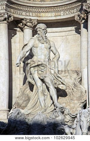 Neptune Of Trevi Fountain (fontana Di Trevi) In Rome, Italy