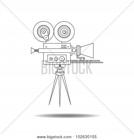 Line art detailed professional retro movie camera