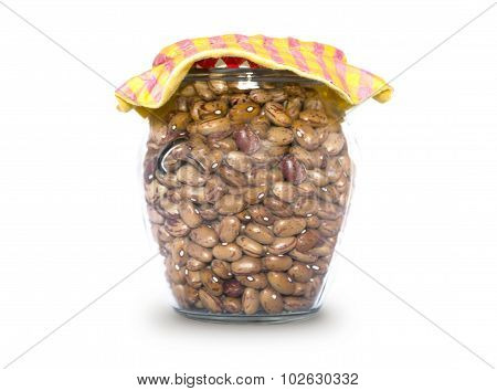 Glass jar containing rustic beans