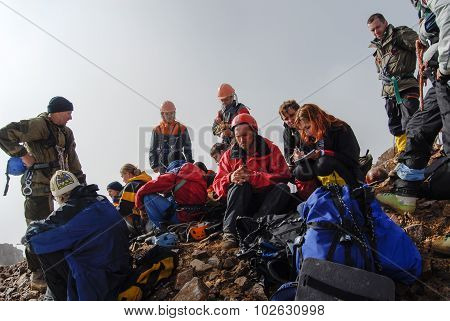 Mountaineers resting