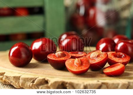 Sweet cherries on wooden background