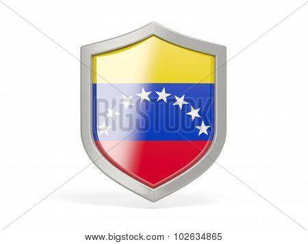 Shield Icon With Flag Of Venezuela