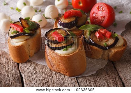 Delicious Crostini With Aubergine, Tomato And Cheese. Horizontal