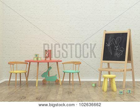 Kids Game Room Interior 3D Rendering Image