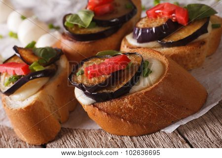 Italian Crostini With Aubergine, Tomato And Cheese Macro
